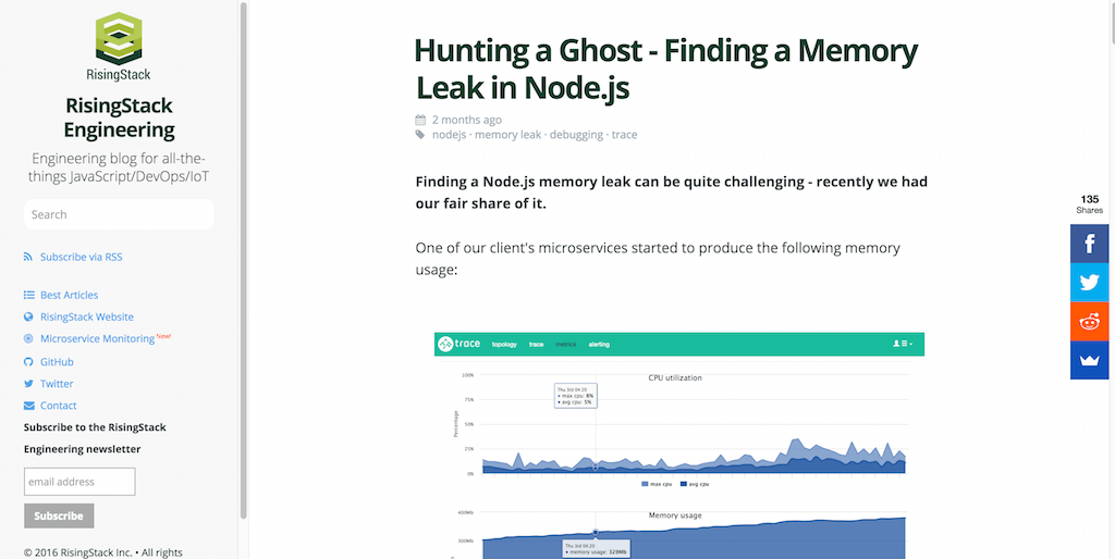 Finding a Memory Leak in Node.js