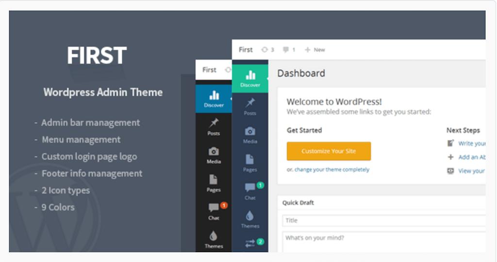 First WordPress Admin Theme WordPress CodeCanyon