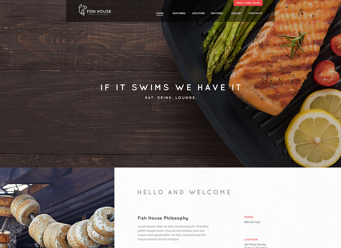 Fish House - A Stylish Seafood Restaurant / Cafe / Bar WordPress Theme