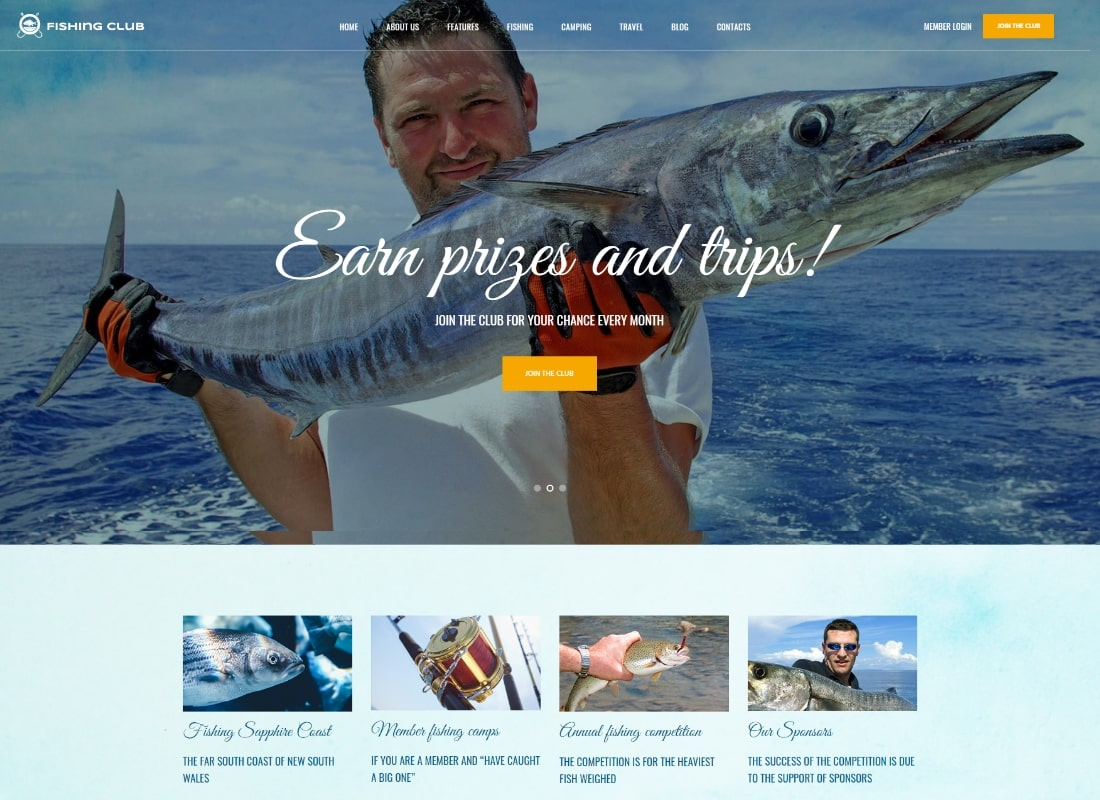 Fishing Club | Fishing and Hunting Club Hobby WordPress Theme