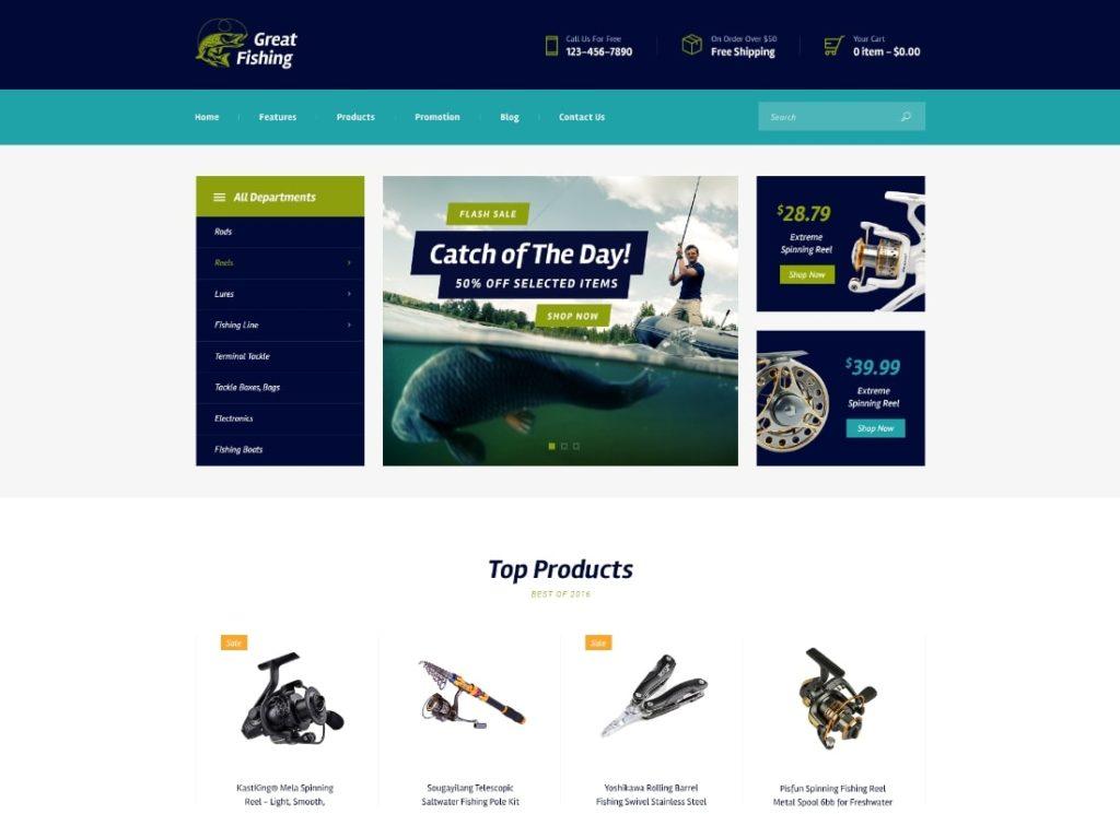 Great Fishing   Fishing and Hunting Hobby WordPress Theme