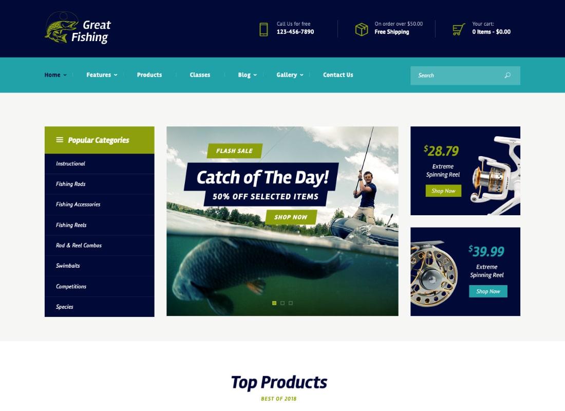 Great Fishing | Fishing and Hunting Hobby WordPress Theme