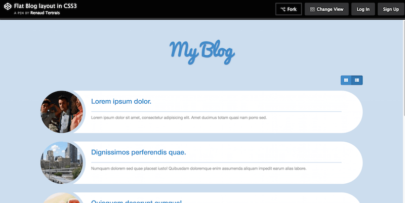 Flat Blog Layout with CSS3