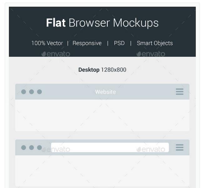 Flat Browser Mockups