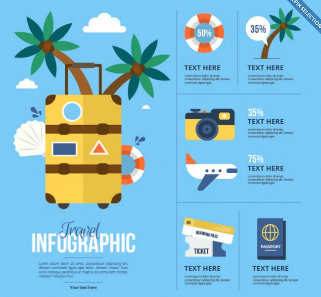 Flat Travel Elements for Infographics