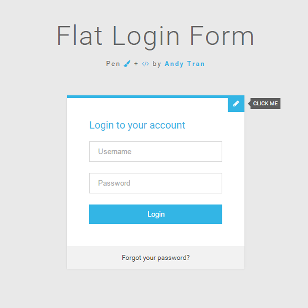 Flat Login Form Sign Up Form