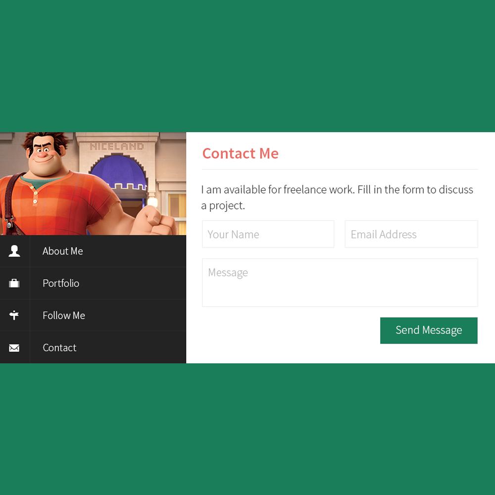 Free Flat Profile PSD Portfolio Template