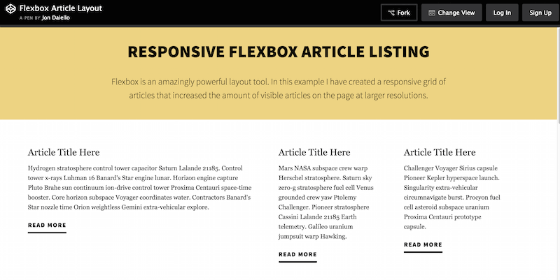 Flexbox Article Layout