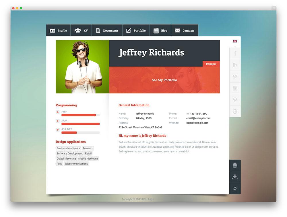 insurgent resume stain one page portfolio resume theme by