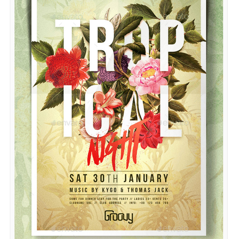 Flyer for Tropical Party Nights