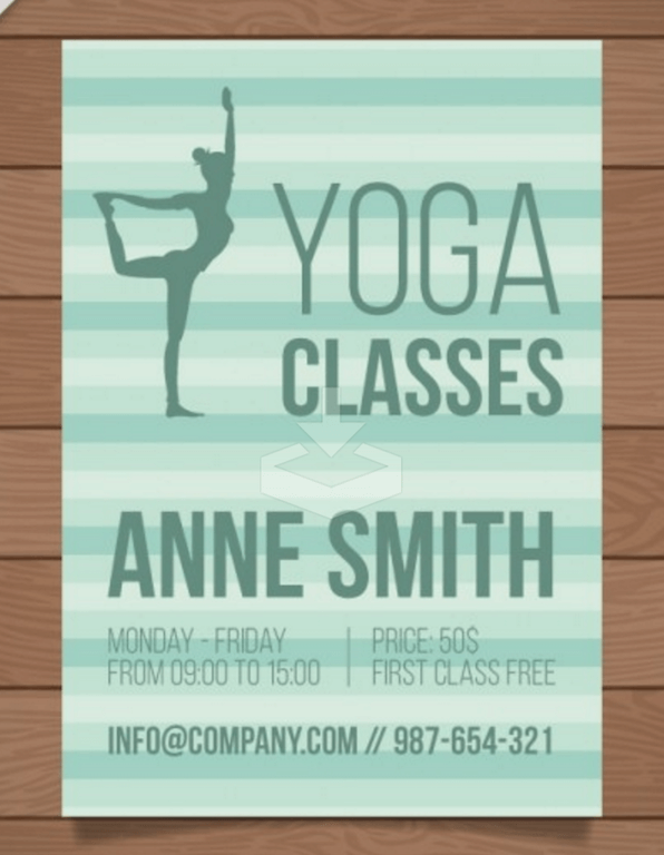 Flyer for Yoga Classes