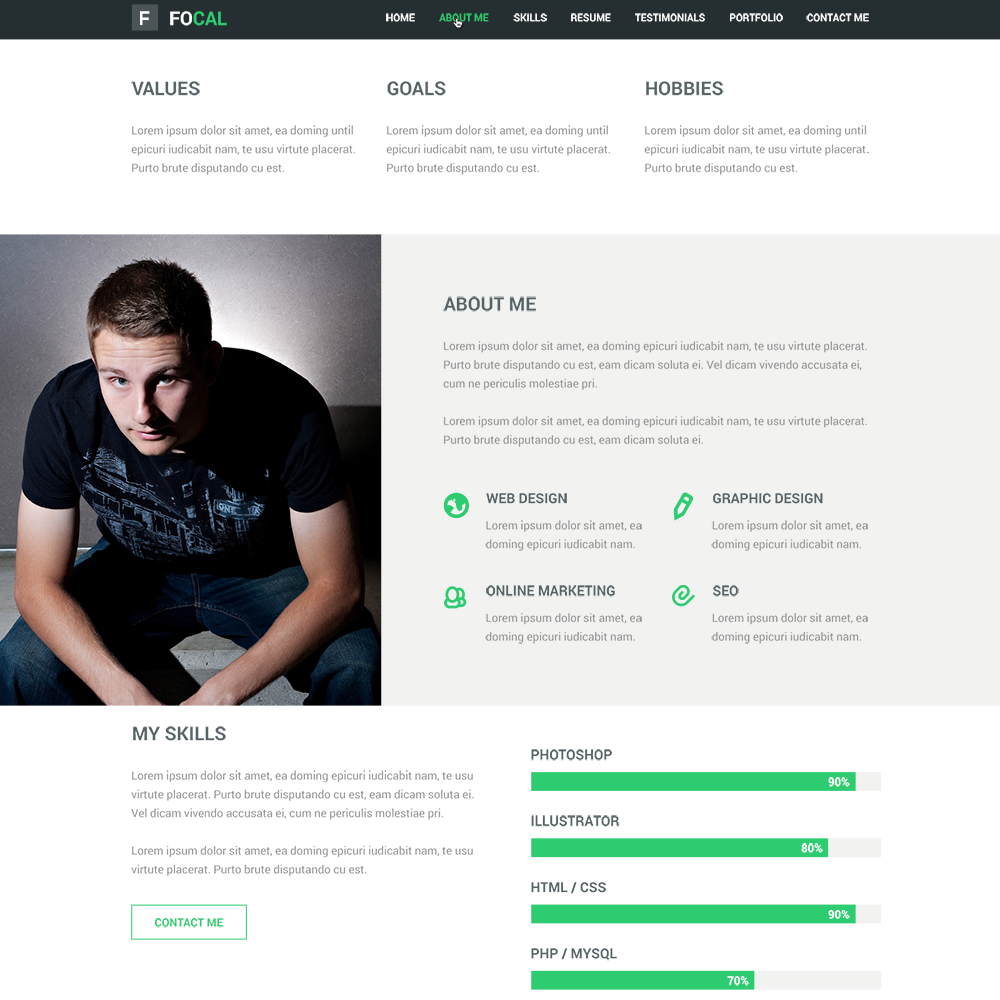 free focal resume portfolio psd template - Online Resume Website