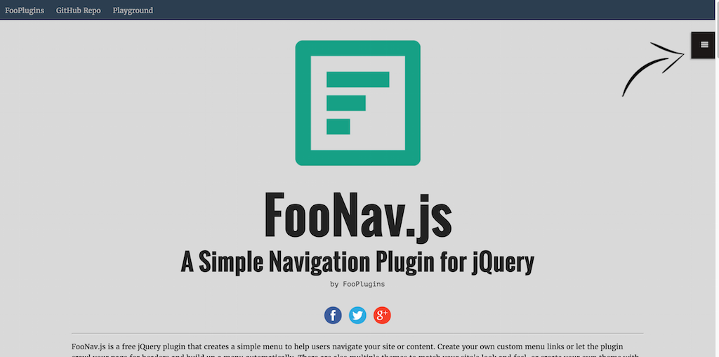 FooNav.js Simple Navigation Plugin