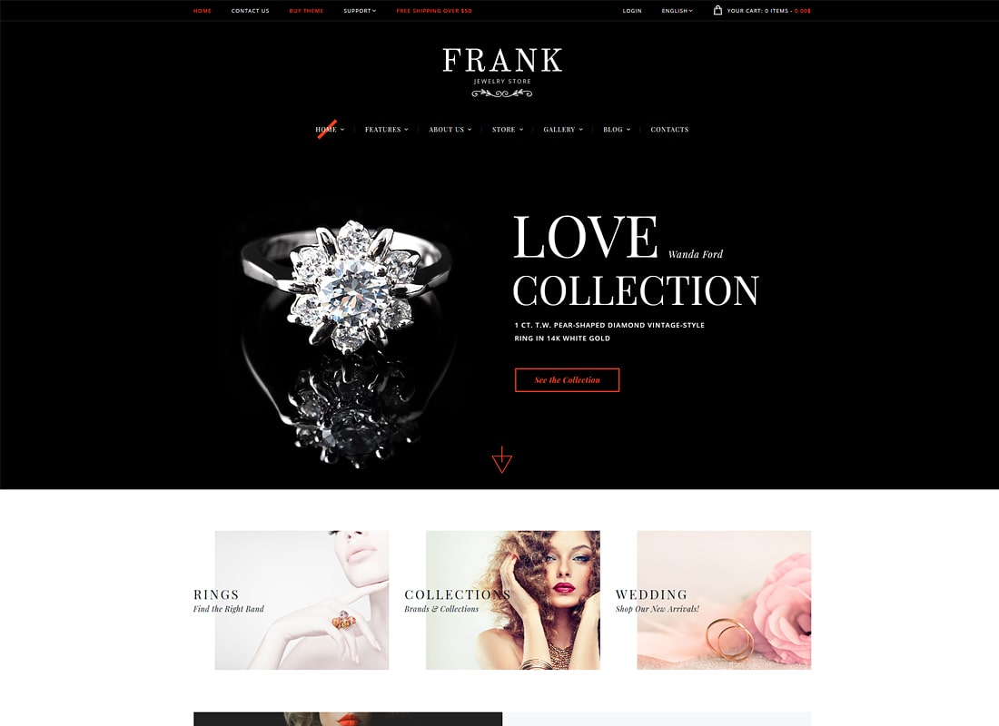 Frank | Jewelry & Watches Online Store Luxury WordPress Theme