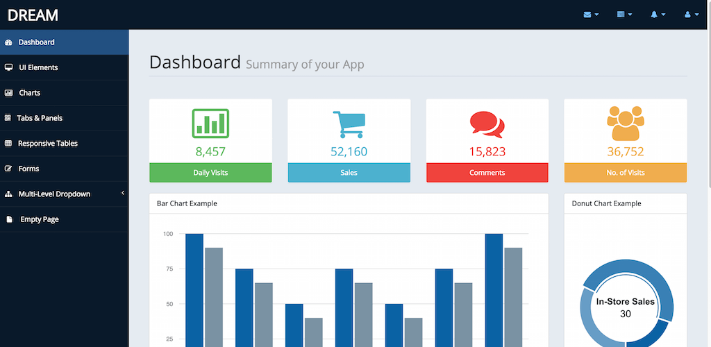 Free Bootstrap Admin Template Dream
