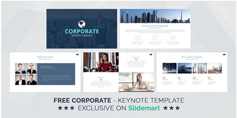 Free Corporate Keynote Presentation Template Deck