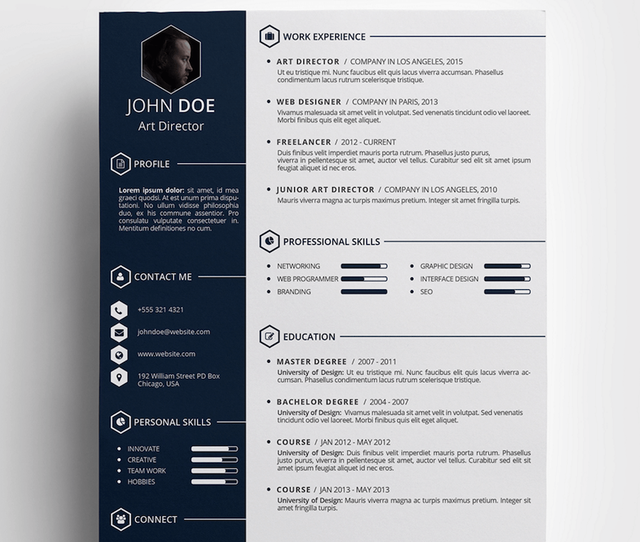 free creative resum template by daniel hollander - Free Modern Resume Template