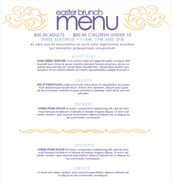 Free Easter Brunch Menu Template  Catering Menu Template Free