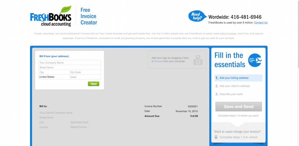 Free Invoice Template And Custom Invoice Generator From FreshBooks  Web Invoice