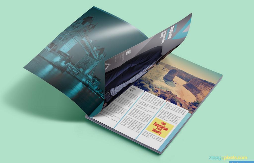 Revista gratuita PSD Mockup