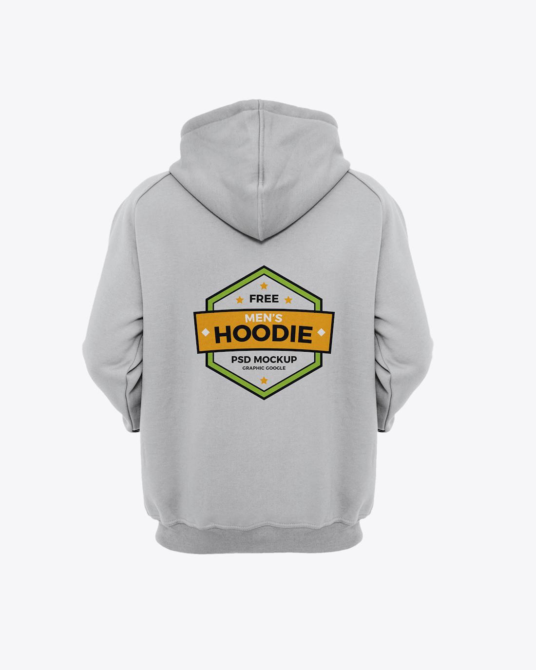 Free Men's Hoodie Back Mockup