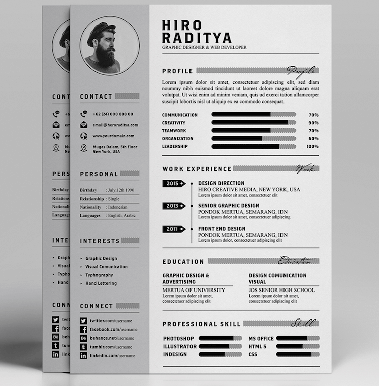 Free Resume, Letter U0026 Portfolio Template By Angga Baskara  Free Unique Resume Templates