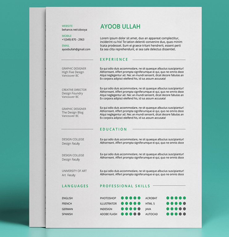 Charmant Free Resume Template By Ayoob Ullah
