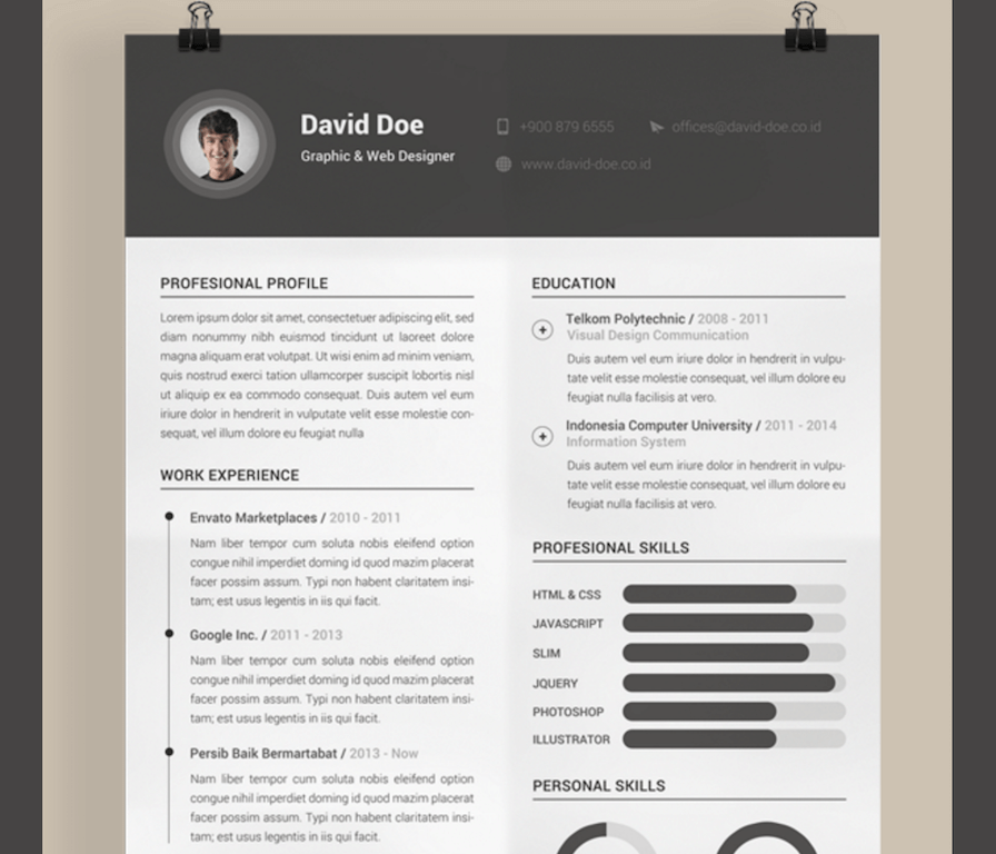 contemporary resume template free commonpenceco - Free Resume Html Template