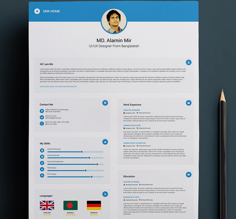 free resume with business card by alamin mir - Free Resume Sites