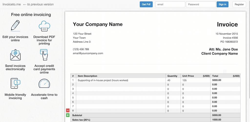 Free invoice generator Invoice template online