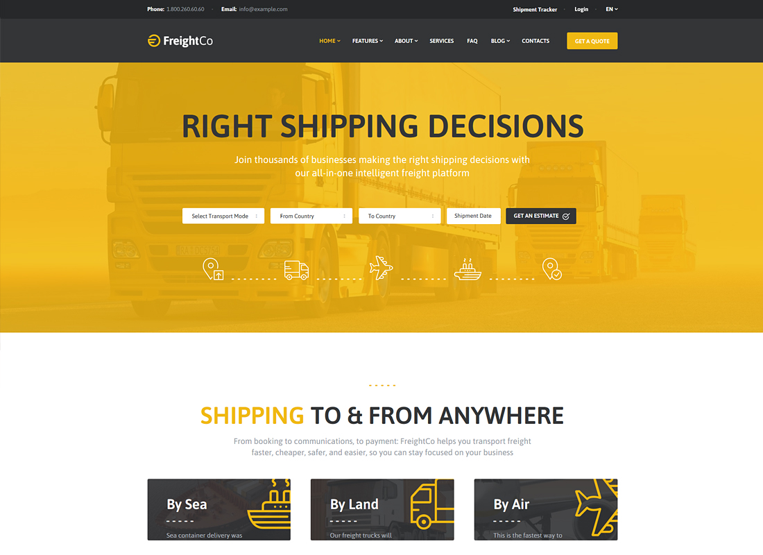 FreightCo - Transportation & Warehousing WordPress Theme