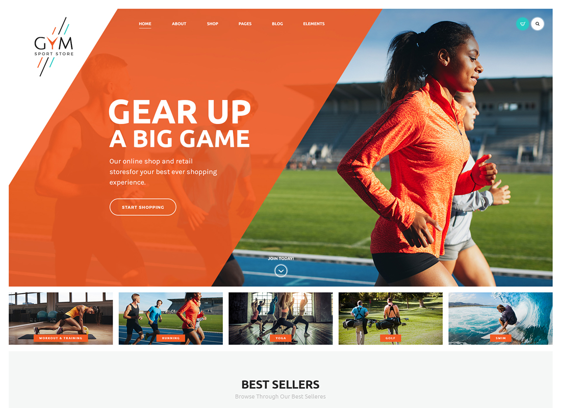 GYM - Sports Clothing & Equipment Store WordPress Theme