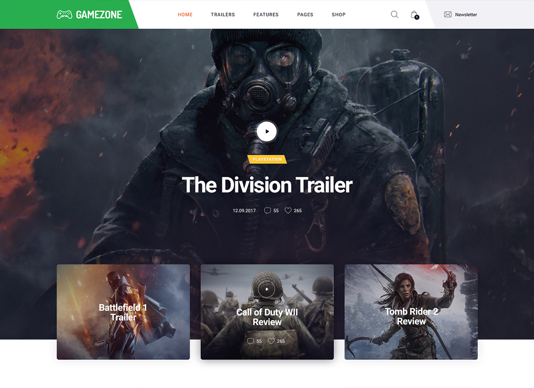 Gamezone - Gaming Blog & Store WordPress Theme