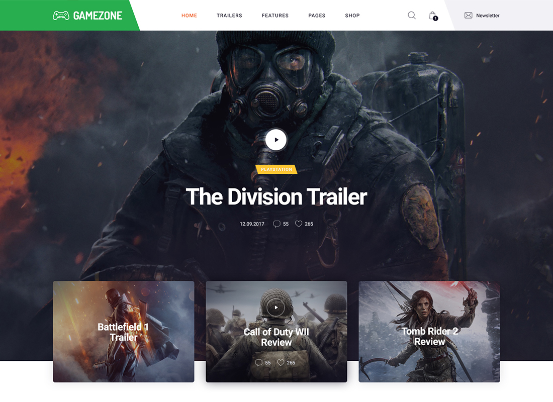 Gamezone - Gaming Blog & Store WordPress Theme