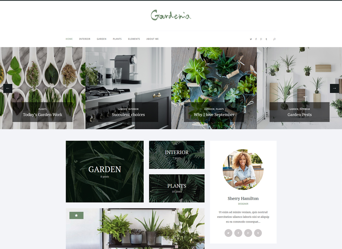 Gardenia | A Stylish Gardening Personal Blog WordPress Theme