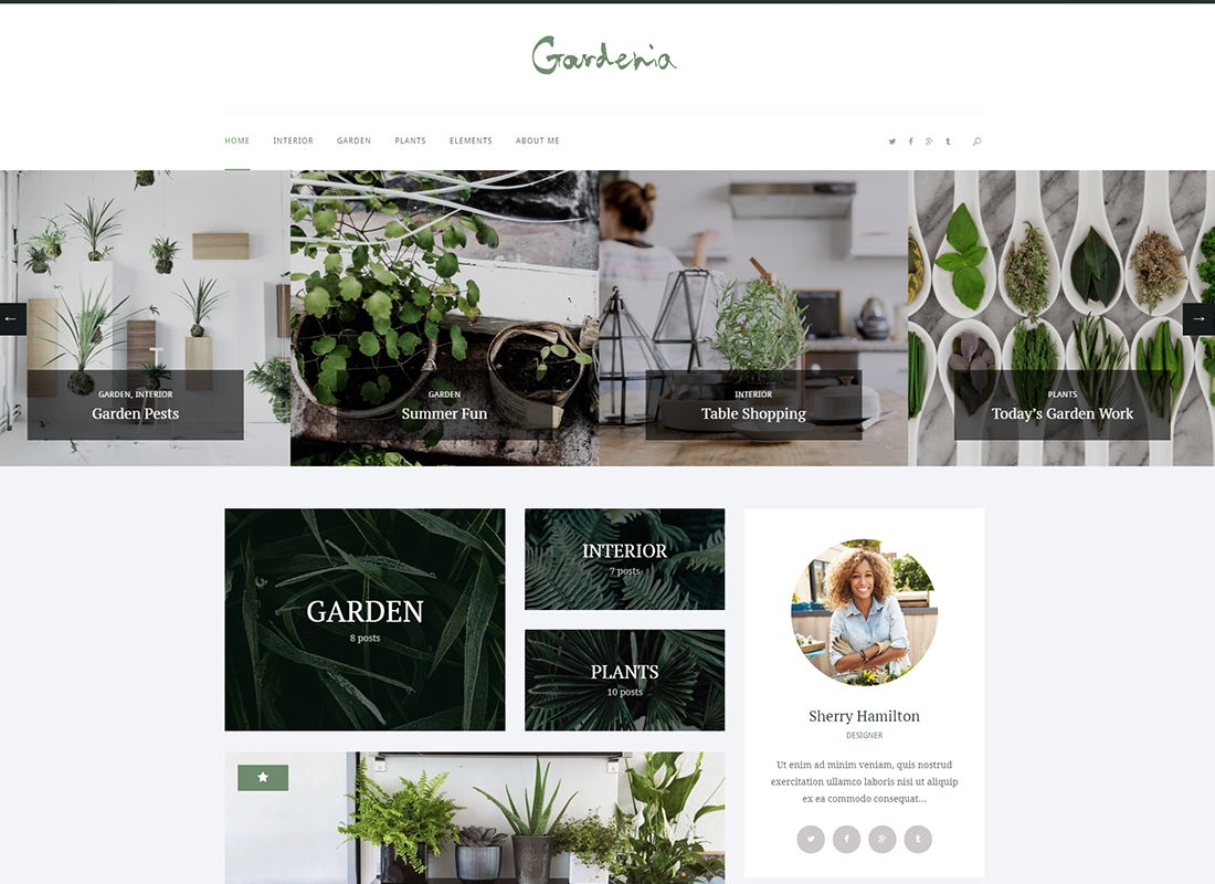Gardenia - A Stylish Gardening Personal Blog WordPress Theme