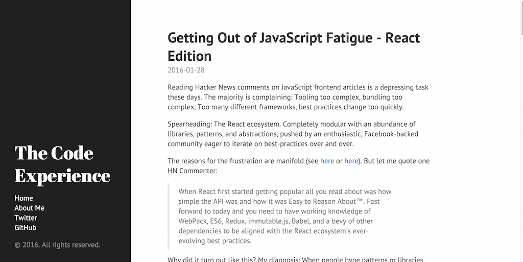 Getting Out of JavaScript Fatigue React Edition