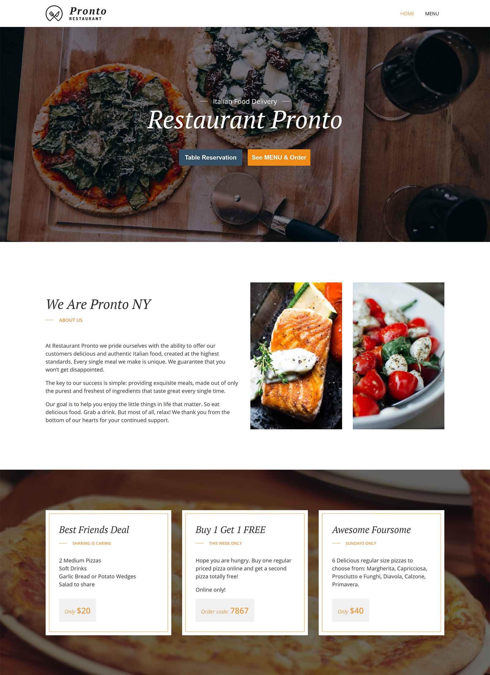 GloriaFood Theme Review Homepage
