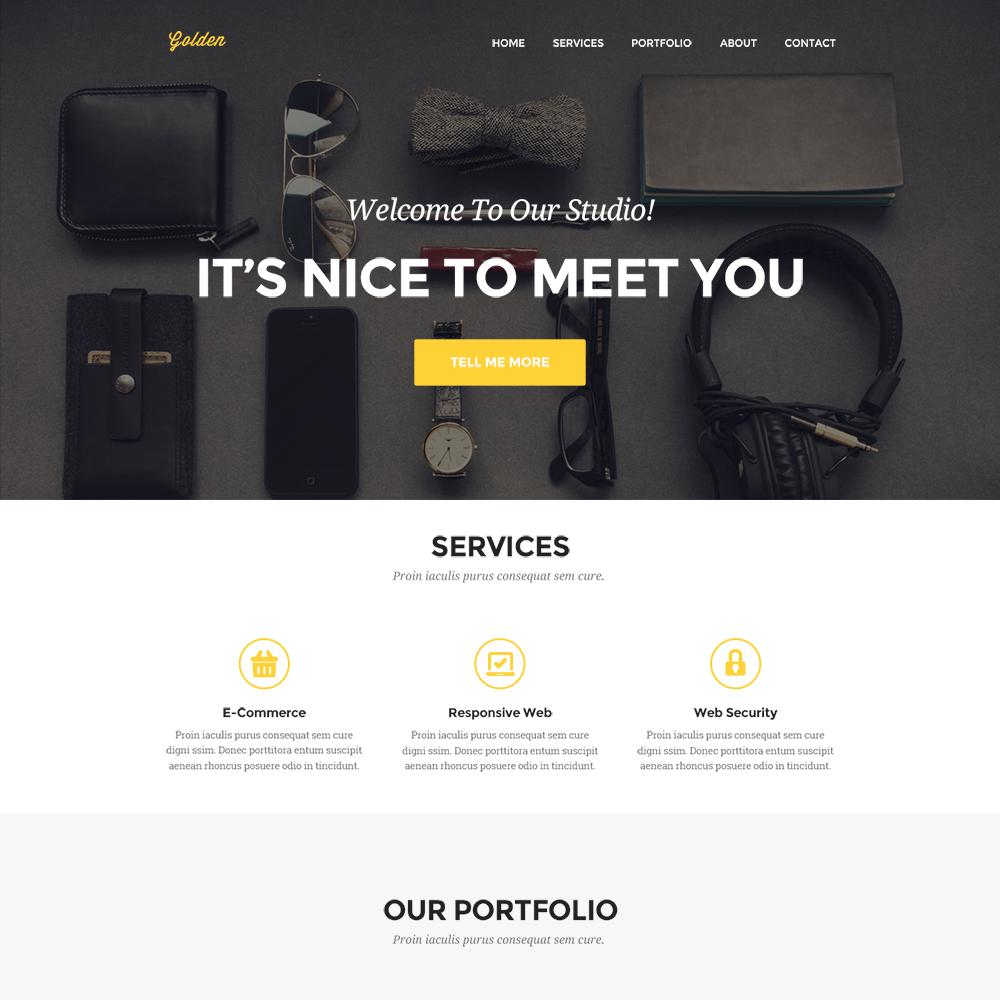 Free Golden PSD Portfolio Template