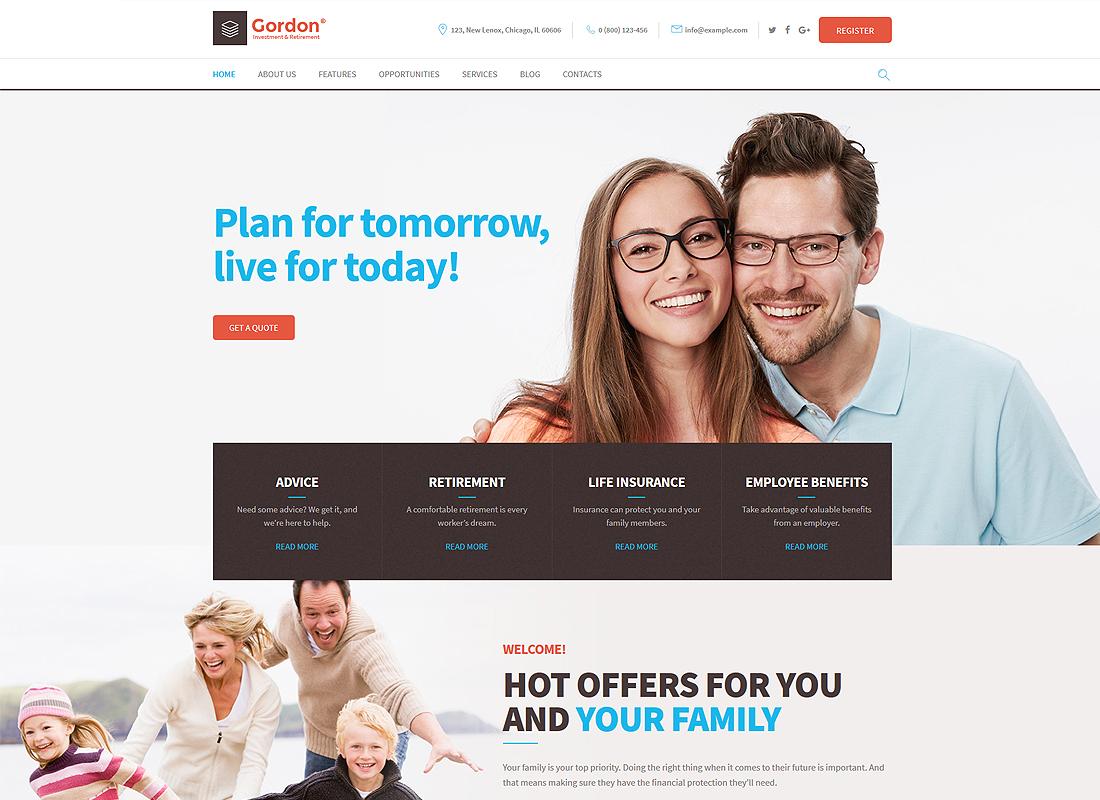 Gordon - Investments & Insurance Company WordPress Theme