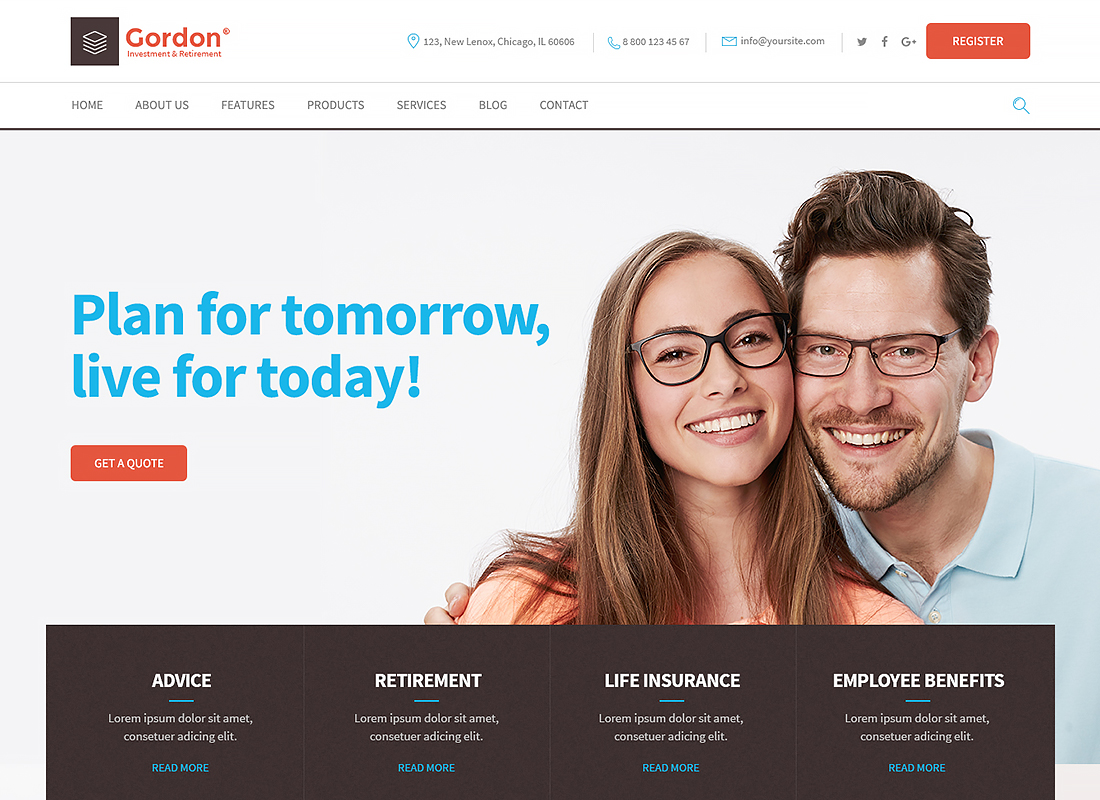 Gordon - Investments & Insurance Company WordPress Theme