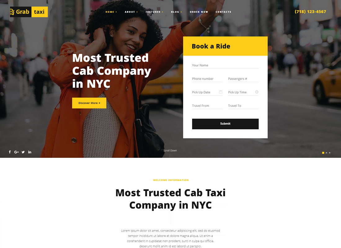 Grab Taxi - Online Taxi Service WordPress Theme