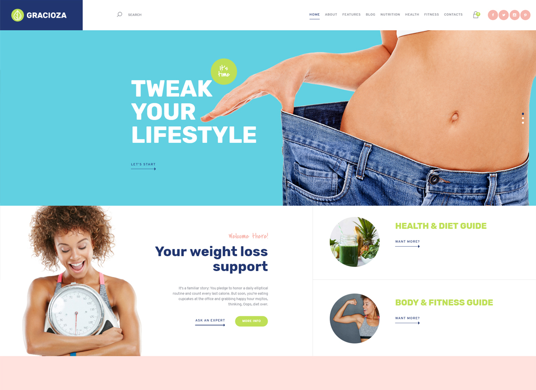 Gracioza - Weight Loss Company & Healthy Blog WordPress Theme