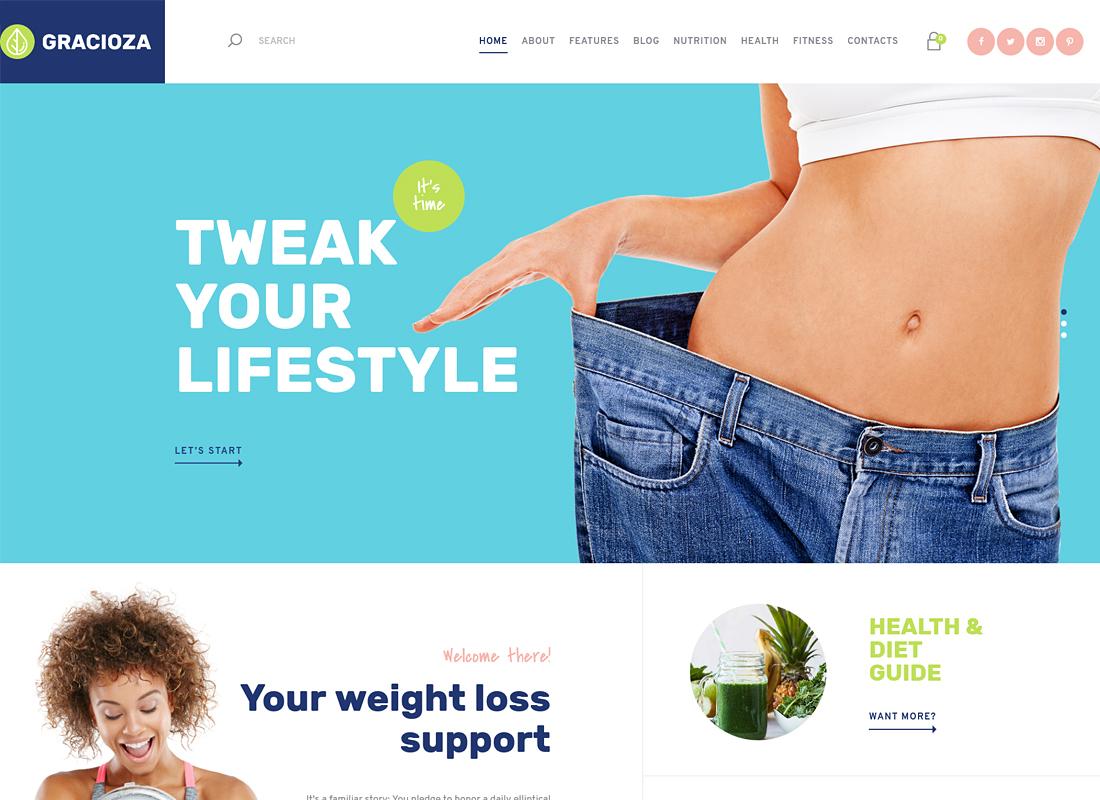 Gracioza - Weight Loss Company & Healthy Blog WordPress Theme