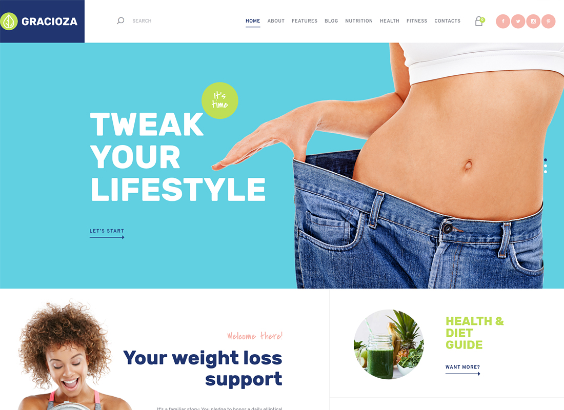 Gracioza | Weight Loss Company & Healthy Blog WordPress Theme