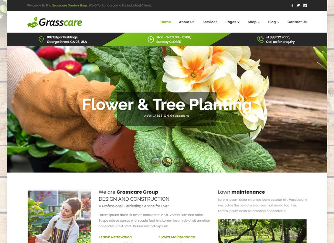 GrassCare - Gardening & Lawn Responsive WordPress Theme