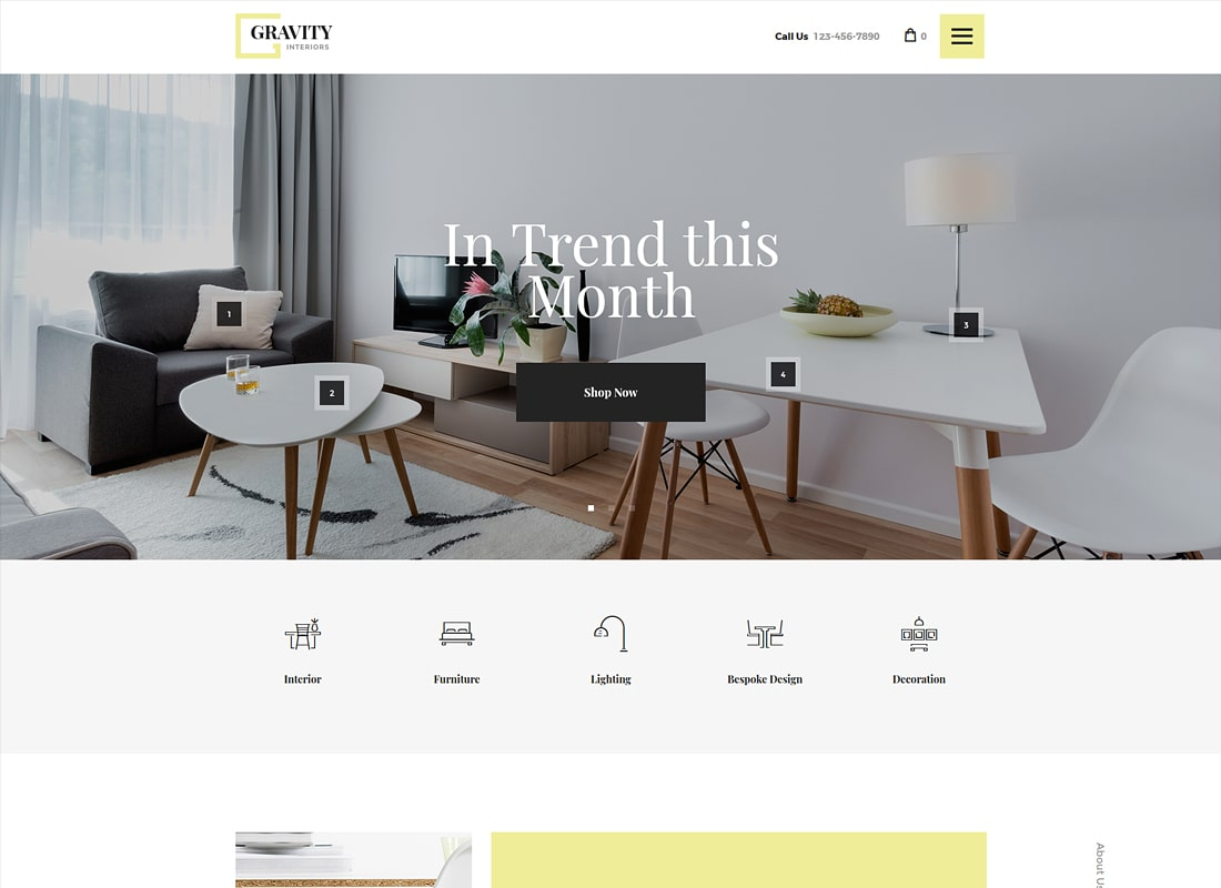 Gravity | A Contemporary Interior Design & Furniture Store Luxury WordPress Theme