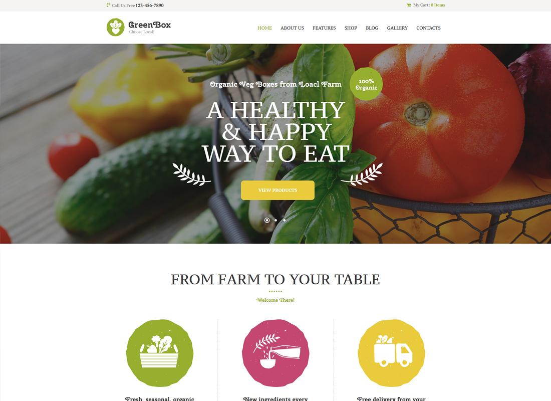 Green Box - Eco Farm & Organic Products Store WordPress Theme