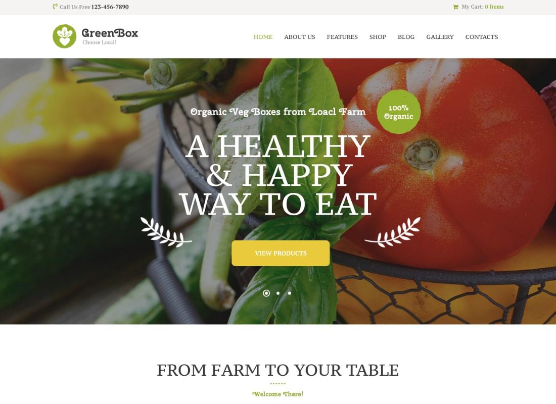 Green Box | Eco Farm & Organic Products Store WordPress Theme