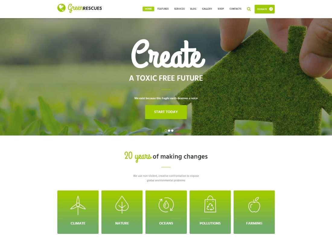 Green Rescues | Environment Protection Antipollution Eco WordPress Theme